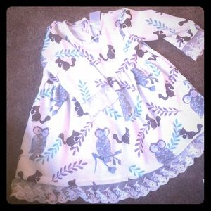 Boutique lace dress with owls and squirrels